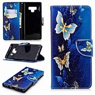 Недорогие Чехлы и кейсы для Galaxy Note 8-Кейс для Назначение SSamsung Galaxy Note 9 / Note 8 Кошелек / Бумажник для карт / со стендом Чехол Бабочка Твердый Кожа PU для Note 9 / Note 8