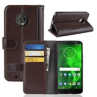 preiswerte Handyhüllen-Hülle Für Motorola MOTO G6 / Moto G6 Play Geldbeutel / Kreditkartenfächer / Flipbare Hülle Ganzkörper-Gehäuse Solide Hart Echtleder für Moto Z2 play / Moto X4 / MOTO G6