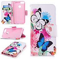 お買い得  携帯電話ケース-ケース 用途 Huawei P smart ウォレット / カードホルダー / スタンド付き フルボディーケース バタフライ ハード PUレザー のために P smart
