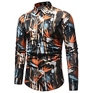 cheap -Men's Basic Shirt - Color Block / Graphic Print