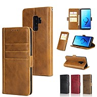 Недорогие Чехлы и кейсы для Galaxy S9 Plus-Кейс для Назначение SSamsung Galaxy S9 Plus / S8 Plus Кошелек / Бумажник для карт / со стендом Чехол Однотонный Твердый Настоящая кожа для S9 / S9 Plus / S8 Plus