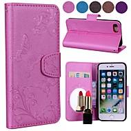 Недорогие Кейсы для iPhone 8 Plus-Кейс для Назначение Apple iPhone X / iPhone 8 Бумажник для карт / со стендом / С узором Чехол Бабочка / Цветы Твердый Кожа PU для iPhone 8 Pluss / iPhone 8 / iPhone 7 Plus