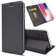 Недорогие Кейсы для iPhone 8 Plus-Кейс для Назначение Apple iPhone X / iPhone 8 Plus Кошелек / Бумажник для карт / Защита от удара Чехол Однотонный Твердый Кожа PU для iPhone X / iPhone 8 Pluss / iPhone 8
