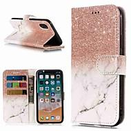 Недорогие Кейсы для iPhone 8 Plus-Кейс для Назначение Apple iPhone XR / iPhone XS Max Кошелек / Бумажник для карт / со стендом Чехол Мрамор Твердый Кожа PU для iPhone XS / iPhone XR / iPhone XS Max