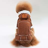 cheap Pet Supplies Accessories-Dogs / Cats Coat / Jacket Dog Clothes Solid Colored Coffee / Brown / Red Lamb Fur Costume For Pets Unisex Casual / Daily / Warm Ups