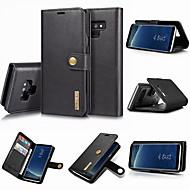 Недорогие Чехлы и кейсы для Galaxy Note 8-DG.MING Кейс для Назначение SSamsung Galaxy Note 9 / Note 8 Кошелек / Бумажник для карт / со стендом Чехол Однотонный Твердый Настоящая кожа для Note 9 / Note 8