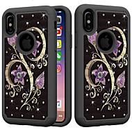 Недорогие Кейсы для iPhone 8 Plus-Кейс для Назначение Apple iPhone XR / iPhone XS Max Защита от удара / Стразы Кейс на заднюю панель Стразы / Цветы Твердый ПК для iPhone XS / iPhone XR / iPhone XS Max