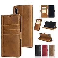 Недорогие Кейсы для iPhone 8-Кейс для Назначение Apple iPhone XR / iPhone XS Max Кошелек / Бумажник для карт / со стендом Чехол Однотонный Твердый Настоящая кожа для iPhone XS / iPhone XR / iPhone XS Max