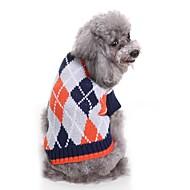 levne -Psi svetry Oblečení pro psy Barvená příze / Kostkovaný Kávová / Světle modrá Terylen Kostým Pro domácí mazlíčky Unisex tečky a kostky / Běžné / Denní