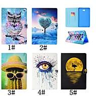 Недорогие Чехлы и кейсы для Samsung Tab-Кейс для Назначение SSamsung Galaxy Tab 4 10.1 / Tab S3 9.7 Бумажник для карт / со стендом / Флип Чехол Фламинго / Масляный рисунок / Сова Твердый Кожа PU для Tab 4 10.1 / Tab S3 9.7 / Tab A 9.7