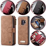 Недорогие Чехлы и кейсы для Galaxy S8-Кейс для Назначение SSamsung Galaxy S9 Plus / S9 Кошелек / Бумажник для карт / Защита от удара Чехол Однотонный Твердый Настоящая кожа для S9 / S9 Plus / S8 Plus