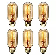 abordables Bombillas Incandescentes-6pcs 40 W E26 / E27 T45 Blanco Cálido 2200-2800 k Retro / Regulable / Decorativa Bombilla incandescente Vintage Edison 220-240 V