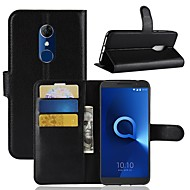 Case For Alcatel Alcatel 3 / Alcatel 1 Wallet / Card Holder / Flip Full Body Cases Solid Colored Hard PU Leather for Alcatel 5044r / Alcatel 3 / Alcatel 3C