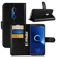 preiswerte Handyhüllen-Hülle Für Alcatel Alcatel 3 / Alcatel 1 Geldbeutel / Kreditkartenfächer / Flipbare Hülle Ganzkörper-Gehäuse Solide Hart PU-Leder für Alcatel 5044r / Alcatel 3 / Alcatel 3C