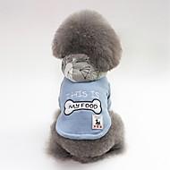 abordables -Chiens Manteaux Vêtements pour Chien Personnage / Os / Slogan Rouge / Bleu Pluche Costume Pour les animaux domestiques Unisexe Décontracté / Quotidien / Guêtres