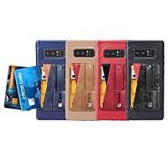 Недорогие Чехлы и кейсы для Galaxy Note 8-Кейс для Назначение SSamsung Galaxy Note 9 / Note 8 Бумажник для карт / со стендом / Кольца-держатели Кейс на заднюю панель Однотонный Мягкий Кожа PU для Note 9 / Note 8