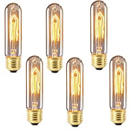 abordables Bombillas Incandescentes-6pcs 40 W E26 / E27 T10 Blanco Cálido 2200-2700 k Retro / Regulable / Decorativa Bombilla incandescente Vintage Edison 220-240 V