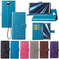 お買い得  携帯電話ケース-ケース 用途 Sony Xperia XA3 / Xperia L2 カードホルダー / スタンド付き / フリップ フルボディーケース ソリッド / バタフライ ハード 繊維 のために Sony XA2 Plus / Xperia XZ2 / Xperia XZ2 Compact