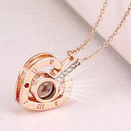 cheap -Women's Hollow Out Charm Necklace Rhinestone Heart Letter Ladies Korean Fashion Cute Cute Gold Silver 42+5 cm Necklace Jewelry 1pc For Going out Work