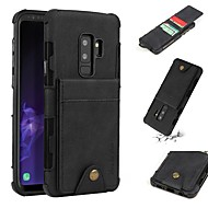 Недорогие Чехлы и кейсы для Galaxy S9-Кейс для Назначение SSamsung Galaxy S9 Plus / S9 Кошелек / Бумажник для карт / Защита от удара Кейс на заднюю панель Однотонный Мягкий Кожа PU для S9 / S9 Plus