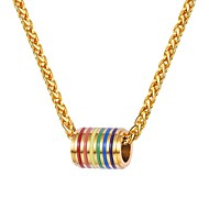 cheap -Men's Chunky Pendant Necklace Stainless Steel Rainbow Fashion Gold Black Silver 55 cm Necklace Jewelry 1pc For Gift Daily