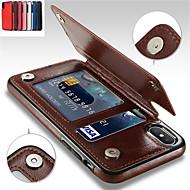 Недорогие Кейсы для iPhone 8-Кейс для Назначение Apple iPhone XR / iPhone XS Max Бумажник для карт / со стендом Кейс на заднюю панель Однотонный Мягкий Кожа PU для iPhone XS / iPhone XR / iPhone XS Max