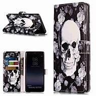 Недорогие Чехлы и кейсы для Galaxy Note-Кейс для Назначение SSamsung Galaxy Note 9 / Note 8 Кошелек / Бумажник для карт / со стендом Чехол Черепа Твердый Кожа PU для Note 9 / Note 8