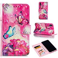 Недорогие Кейсы для iPhone 8-Кейс для Назначение Apple iPhone XR / iPhone XS Max Кошелек / Бумажник для карт / со стендом Чехол Бабочка / Цветы Твердый Кожа PU для iPhone XS / iPhone XR / iPhone XS Max