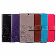 お買い得  携帯電話ケース-ケース 用途 Huawei Honor 7A カードホルダー / フリップ フルボディーケース ソリッド / フラワー ソフト PUレザー のために Honor 7A
