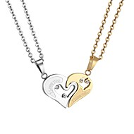 cheap -Women's Cut Out Pendant Necklace Stainless Steel Heart life Tree Best Friends Friendship Ladies Romantic Fashion Gold Black 55 cm Necklace Jewelry 1 set For Gift Daily
