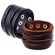 abordables -Homme Effets superposés Bracelets en cuir - Cuir Rétro, Punk, Européen Bracelet Noir / Marron Pour Plein Air