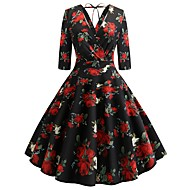 cheap -Women's Party Work Street chic Sophisticated Shift Swing Dress - Floral Plaid Deep V Spring Cotton Black L XL XXL / Sexy