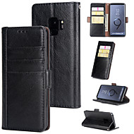 Недорогие Чехлы и кейсы для Galaxy S-Кейс для Назначение SSamsung Galaxy S9 Кошелек / Бумажник для карт / Флип Кейс на заднюю панель Однотонный Твердый Кожа PU для S9