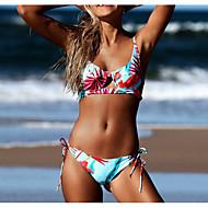 cheap -Women's Basic Strap Rainbow Bandeau Thong Bikini Swimwear - Geometric Lace up Print M L XL Rainbow / Sexy