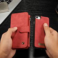 Недорогие Кейсы для iPhone 8-CaseMe Кейс для Назначение Apple iPhone 8 / iPhone 7 Кошелек / Бумажник для карт / со стендом Чехол Однотонный Твердый Кожа PU для iPhone 8 / iPhone 7