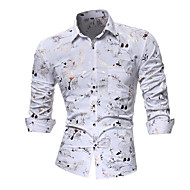 cheap -Men's Luxury Asian Size Slim Shirt - Floral / Club / Spread Collar