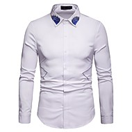 cheap -Men's Basic Shirt - Floral / Color Block Embroidered