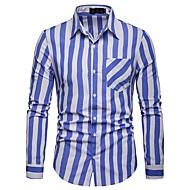 cheap -Men's Basic Shirt - Striped / Color Block