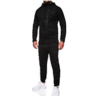 cheap -Men's Basic Hoodie / Activewear Set - Solid Colored Black XL