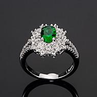 billige -Dame Grøn Kvadratisk Zirconium Klassisk HALO Ring Plastik Europæisk Trendy Romantik Moderinge Smykker Grøn Til Bryllup Stævnemøde 6 / 7 / 8 / 9 / 10