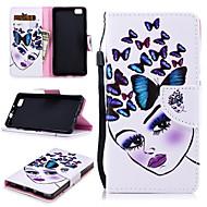 preiswerte Handyhüllen-Hülle Für Huawei P8 Lite Geldbeutel / Kreditkartenfächer / Stoßresistent Ganzkörper-Gehäuse Schmetterling / Sexy Lady Hart PU-Leder für Huawei P8 Lite