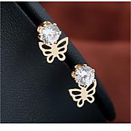levne -Dámské Peckové náušnice - Pozlacené Umělé diamanty Motýl Jednoduchý Šperky Zlatá Pro Svatební Narozeniny Rande Street 1 Pair