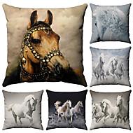 お買い得  -6 個 コットン / リネン 枕カバー, パターン柄 動物 動物 パターン柄