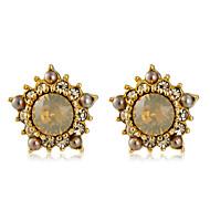 levne -Dámské Průsvitné Křišťál Klasika Peckové náušnice - Pozlacené Umělé diamanty Kytky Moderní Módní Šperky Zlatá Pro Denní Formální 1 Pair