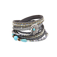 cheap -Women's Layered Wrap Bracelet Leather Bracelet - Leather Trendy, Boho Bracelet Jewelry Brown / Red / Dark Gray For Party Gift Daily