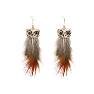 cheap -Women's Retro Drop Earrings - Feather Feather Bohemian Natural Jewelry Yellow / Red For Wedding Party Gift Daily Evening Party 1 Pair