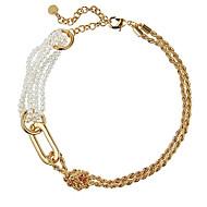 preiswerte -Damen Weiß Klassisch Halsketten - Künstliche Perle Modisch Gold 35 cm Modische Halsketten Schmuck 1pc Für Strasse, Klub