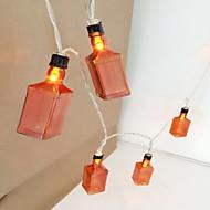 tanie -1 m Łańcuchy świetlne 10 Diody LED Ciepła biel Dekoracyjna Zasilanie bateriami AA 1 zestaw