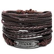 4pcs Heren Lederen armbanden Retro Touw gevlochten Veer Uniek ontwerp Hip-hop PU Armband sieraden Bruin Voor Lahja Dagelijks