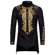 שבטי צווארון עומד(סיני) כותנה, חולצה - בגדי ריקוד גברים סרוג / דפוס לבן XL / שרוול ארוך